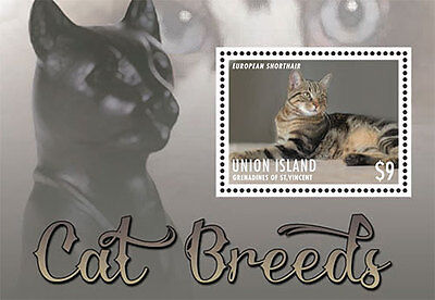 Union Island Grenadines of Saint Vincent| Cat Breeds, 2013 | 1306 S/S MNH