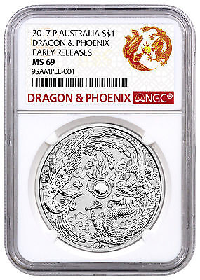 2017-P Australia 1oz Silver Dragon & Phoenix NGC MS69 ER Exclusive Lbl SKU44354