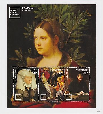 Micronesia - Art, Paintings: Laura by Giorgione, 2014 - Sheetlet of 3 MNH