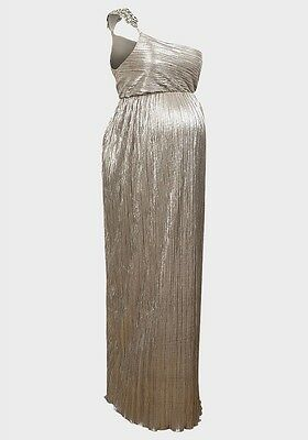 Fashionably Pregnant Silver Maternity Evening Gown Maxi Dress RRP £125 BNWT