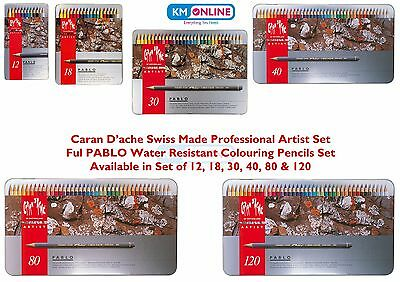 Caran D'Ache Pablo artists quality colour pencils set metal tin water resistant