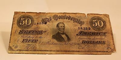 1864 $50 Fifty Dollars Confederate Bill - CSA - Confederacy American Currency
