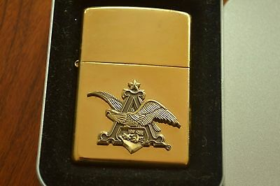 ZIPPO Lighter, Anheuser Busch 3-D Logo - 254BAB 612, Brass, 2001, Sealed M637