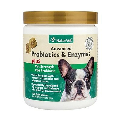 120ct NaturVet Advance PROBIOTICS ENZYMES for Dog Vet Strength Digestive Issue
