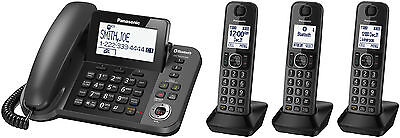 Home Office Phone System Corded Base Xl Lcd Three(3) Cordless Handsets Kxtgf383M