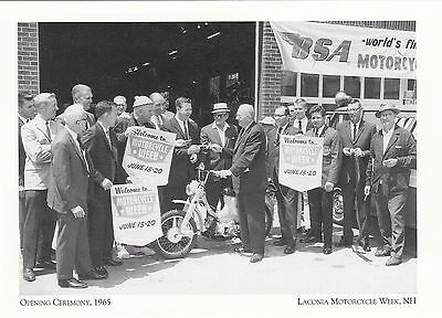 (P011) Postcard - Opening Ceremony in 1965 Laconia Motorcycle Week (modern card)