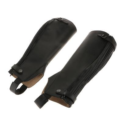 Adult Stretch Gaiters Horse Riding Chaps Leather Look Gaiters
