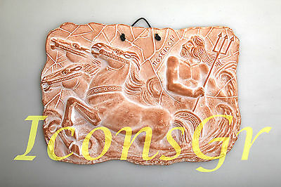 Ancient Greek Ceramix Wall Plaque Of Poseidon God Of The Sea Patine Collectable