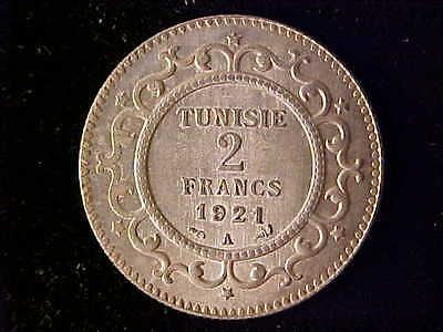 Tunisia Two Francs 1921A Bu Rare As Only 303 Struck
