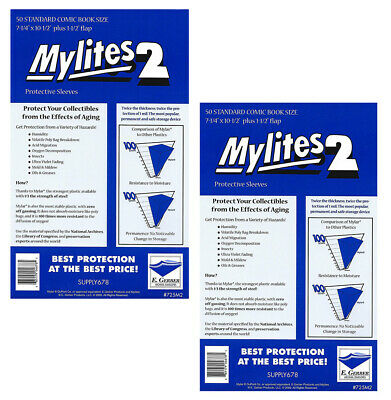 100 - E. GERBER MYLITES 2 STANDARD (BRONZE) 2-Mil Mylar Comic Bags Sleeves 725M2