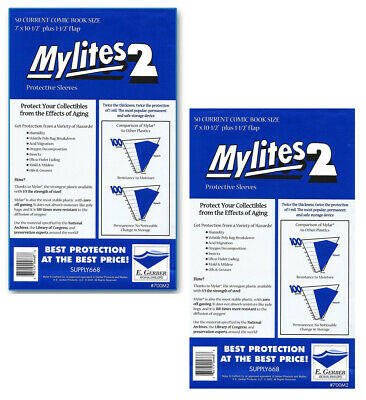 100 - E. GERBER MYLITES 2 CURRENT / MODERN 2-Mil Mylar Comic Bags Sleeves 700M2