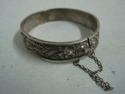 Antique child silver Carved Bangle Bracelet wristlet with fruit