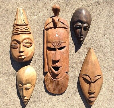 LOT OF 5 Assorted Tribal Masks Hand Carved Wood Wall Hanging Sculpture