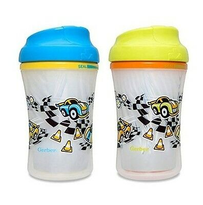 Gerber 2 Pack Graduates Insulated Cup Like Rim Sippy Cups Race Car Pattern NEW