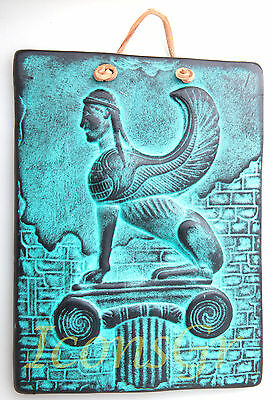 Ancient Greek Ceramix Wall Plaque Of Sphinx Griffon Patine Collectable - 2524