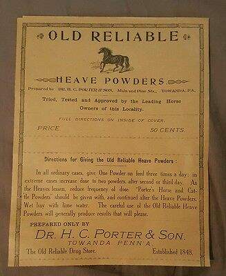 Old Reliable Heave Powders - Advertising Label