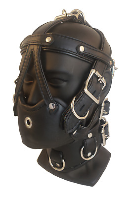 1X LEATHER Male Locking HEAD HARNESS MUZZLE Hand Tailored EXTRA PADDING