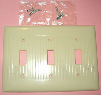 15 Vintage 1900's RIBBED SIERRA 3 Toggle Gang Light Switch Wall Plate