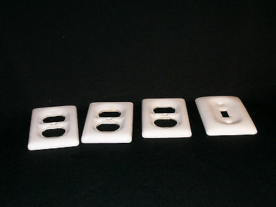 Set  of 3 Vtg Porcelain RECEPTACLES Switch Plate Covers & 1 SINGLE LIGHT
