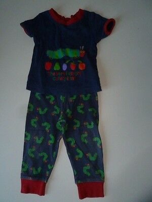 The Very Hungry Caterpillar Blue Unisex Short Sleeved Pyjamas,86-92Cm/12-24Mnths