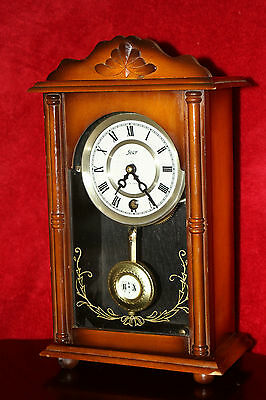 Vintage Swiss Art Deco Oak Case 'Star' Mantel Clock with Original Key