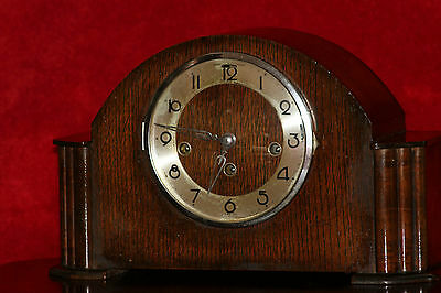 Antique Art Deco Oak Case Mantel Foreign Clock Westminster & Whittington Chimes