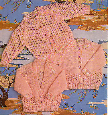 Baby Knitting Pattern Copy CARDIGANS in 3 Styles 8 Ply