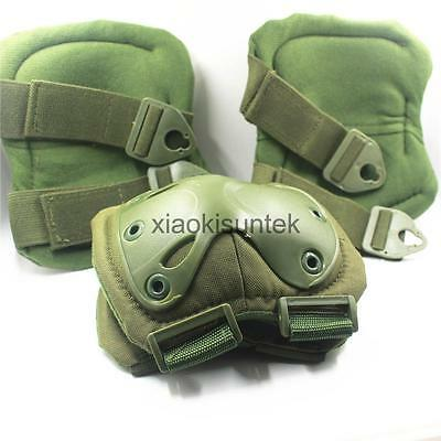 Tactical Military Adjustable Elbow & Knee Pads Set Airsoft Paintball Sports