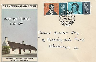 1966 GB Robert Burns STAMPS First Day Cover Perthshire Postmark Ref:A600