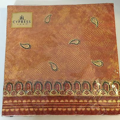 "NEW Cypress Home 20 Pack Luncheon Napkins 8"" Square ""Spiced Paisley"""