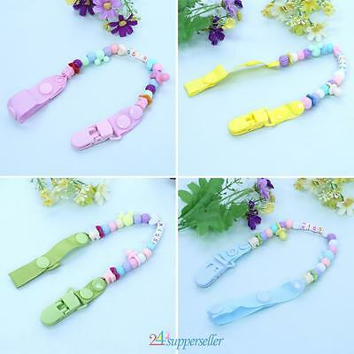 Baby Teething Soother Dummy Pacifier Clip Chain Holder Soother Nipple Bead Strap