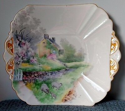 """Shelley ~ """"Sheep & Cottage"""" ~ Queen Anne Art Deco ~ SQUARE CAKE PLATE ~ #11723"""