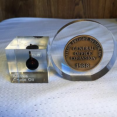 Vintage ALASKA CRUDE OIL DROP Yellow Freight LUCITE PAPERWEIGHT Advertising 5A
