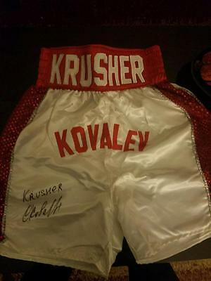 Sergey Krusher Kovalev Autographed Boxing Trunks with Fight Plaza COA