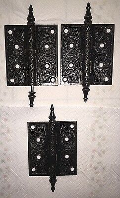 3 victorian old cast iron door steep tip finial 4 1/2 x 4 for 4 screws eastlake?