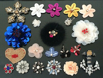 Rhinestones Flower Applique patch sequin beading clothing accessory embroidery