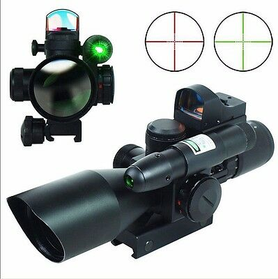 Tactical 2.5-10x40 Rifle Scope Red/Green Laser & Mini Hunting MOA Red Dot Sight