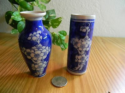 """2 Ceramic Hand-Painted Cobalt Blue ORIENTAL STYLE VASES w/ white flowers 4"""" tall"""