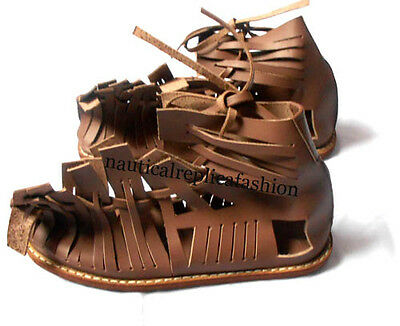 Greek Roman Sandal Wearable Brown Leather Medieval Armor Roman Leather Sandal