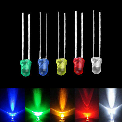 100pcs 3mm White Green Red Blue Yellow LED Light Bulb Emitting Diode Lamps ZV