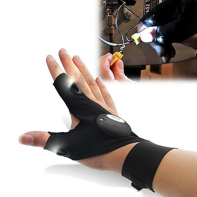 Survival Camping Hiking Sport Cycling Gloves LED Flashlight Torch Lamp ZV