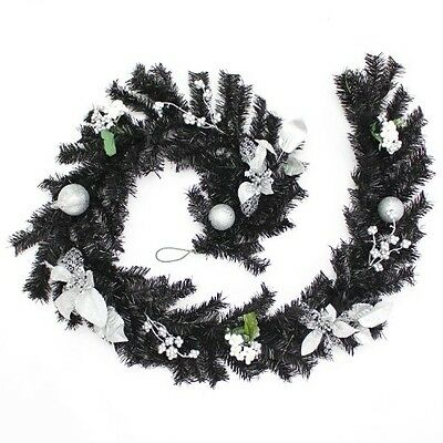 WeRChristmas Decorated Garland Christmas Decoration, 6 Ft - Black/Silver