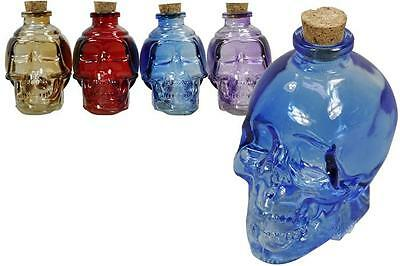 6 x Colored Glass Skull Shape Bottles 11cm Oils Potions Cork Stopper Storage NEW