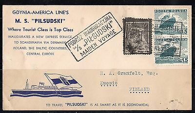 Poland 1935 Paquebot Ship Mail On Maiden Voyage  Of M/s  Pilsudski To Kuopio Fin
