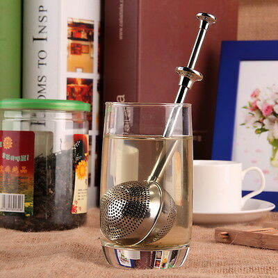 Ball Push Style Tea Leaf Herbal Locking Infuser Strainer Teaspoon Filter ZC