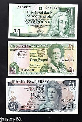 ~ ONE POUND  £1  Banknote x 3  ~ Scotland and Jersey ~