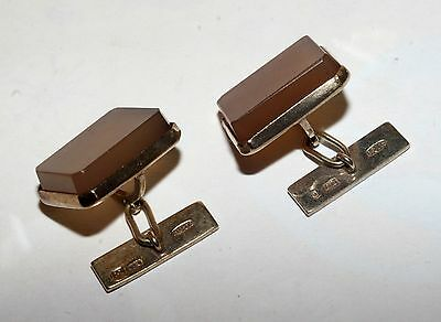 NATURAL STONES Cufflinks Silver 875 Gold plated USSR Antique Awesome!