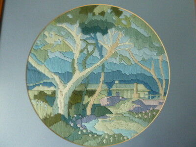 Wonderful Completed Pine Framed Blue Scenic Tapestry,45 Cm Sq