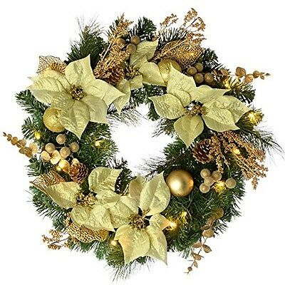 WeRChristmas Decorated Pre-Lit Wreath Christmas Decoration With 20 Warm LED 60