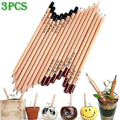 3PCS Creative Wooden Black HB Sprout Pencil with Plants Seeds For Kids Gift